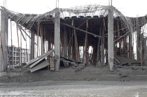 Şanlıurfa'da Beton Dökülen İnşaat Çöktü
